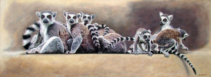 """Ring-Tailed Lemur Group"" selected for the National Exhibition of Wildlife Art"